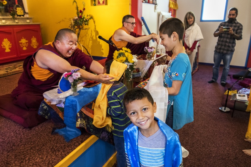 Lama Yeshe Jinpa and Geshe Damchoe with Little Buddhas at Do Nga Dargey Temple in Sacramento, CA