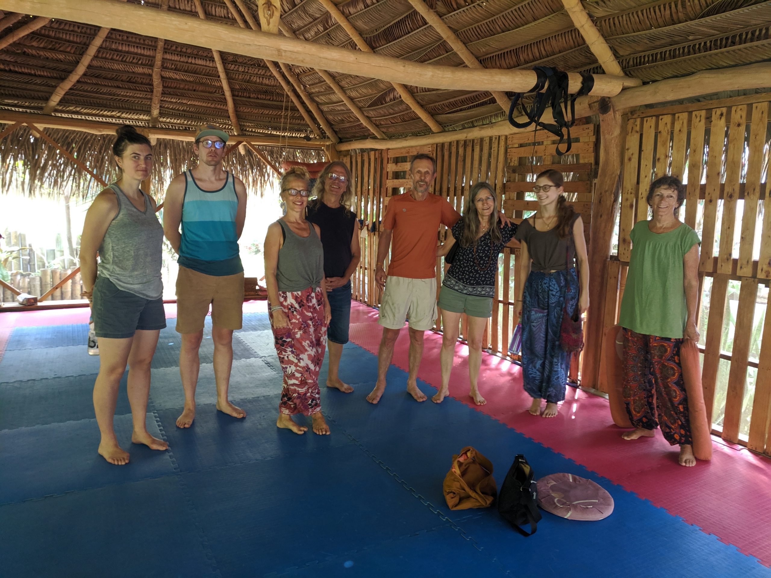 group picture with some regulars, a couple of travelers, and our Dharma sister after a wonderful group and meditation.