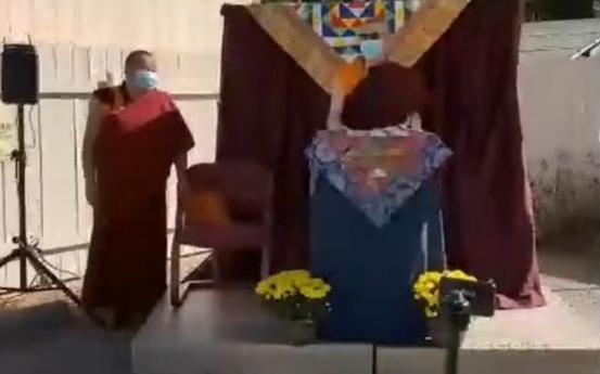 Lama Yeshe Jinpa and Geshe Damchoebaazar Gurjav speak at Kalachakra Mandala consecration ceremony