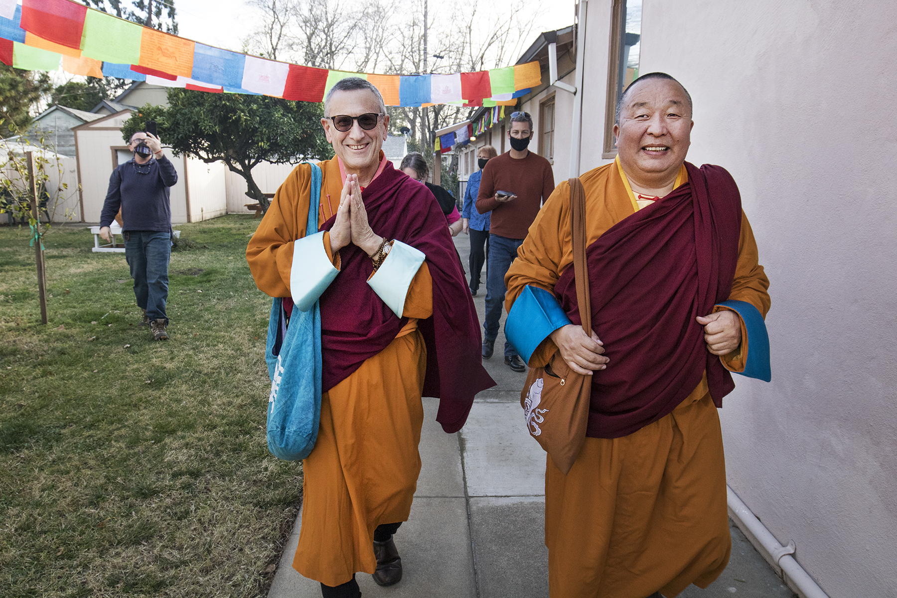 Lama Yeshe Jinpa and Geshe Damchoebaazar Gurjav in mongolian robes during losar 2021 celebration