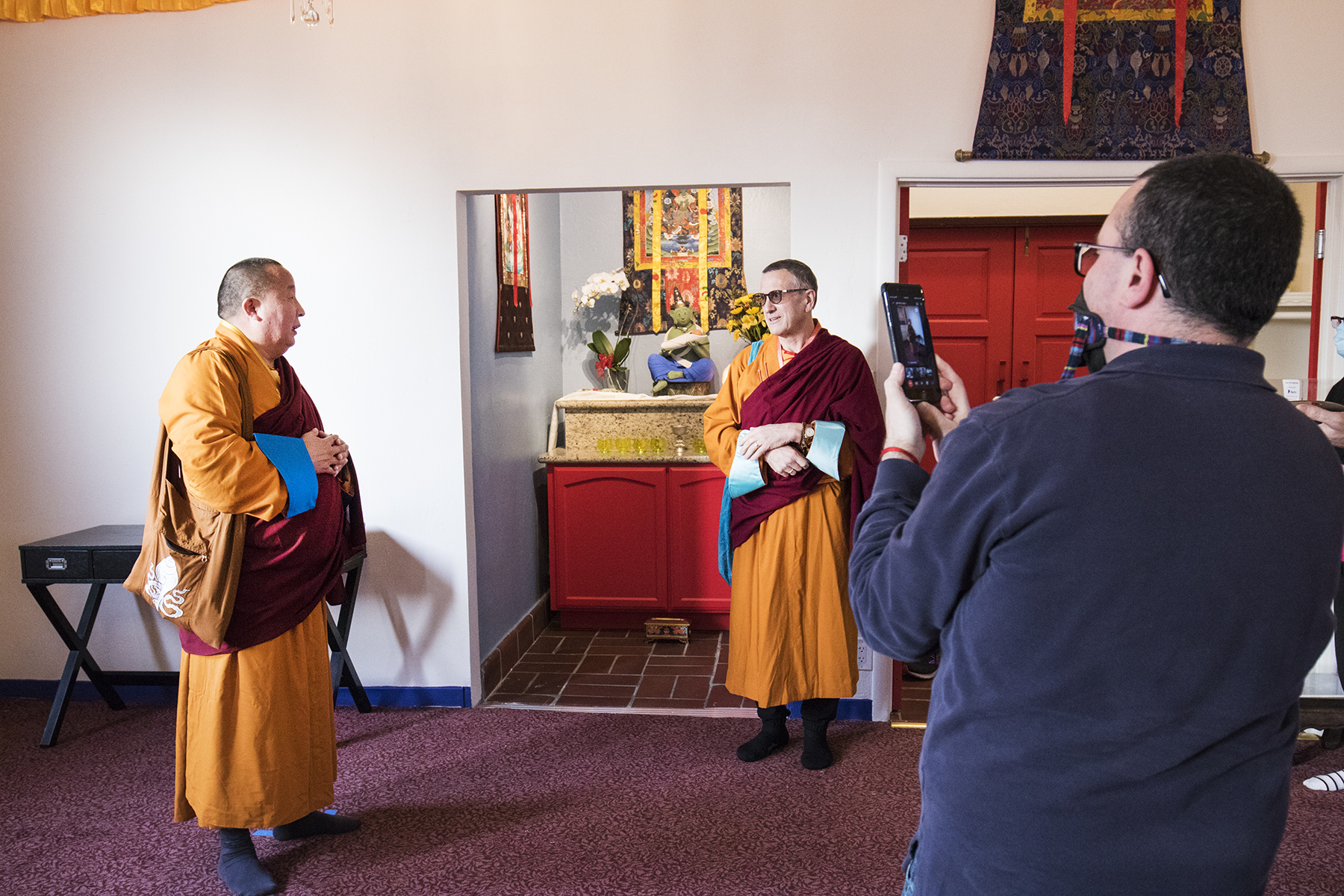 Lama Yeshe Jinpa and Geshe Damchoebaazar Gurjav bless the tara shrine as part ofLosar 2021 / 2148 Celebration
