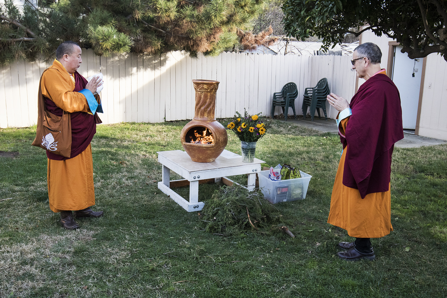 Lama Yeshe Jinpa and Geshe Damchoebaazar Gurjav perform a Riwo Sangchod Smoke Offering Losar 2021 / 2148 Celebration